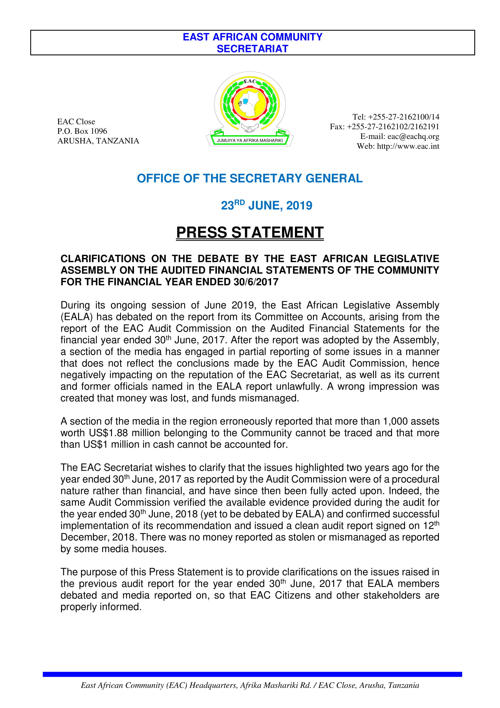 PRESS STATEMENT CLARIFICATION BY THE EAC SECRETARIAT OF AUDIT ISSUES AS DEBATED BY EALA IN JUNE 2019 1