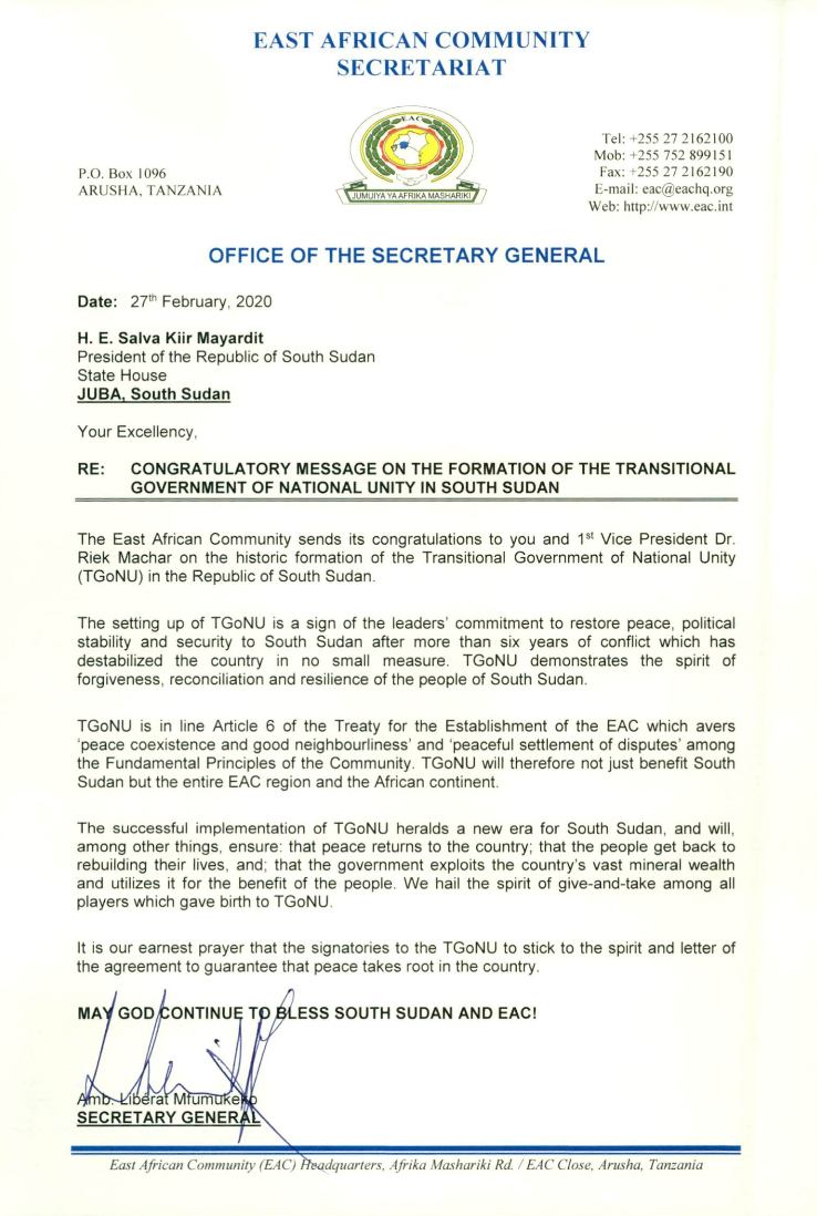 Congratulatory Message on the Formation of the Transitional Government of National Unity in South Sudan